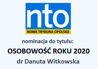 dr Danuta Witkowska z INoZ nominowana do tytułu: Osobowość Roku 2020 w kategorii Nauka