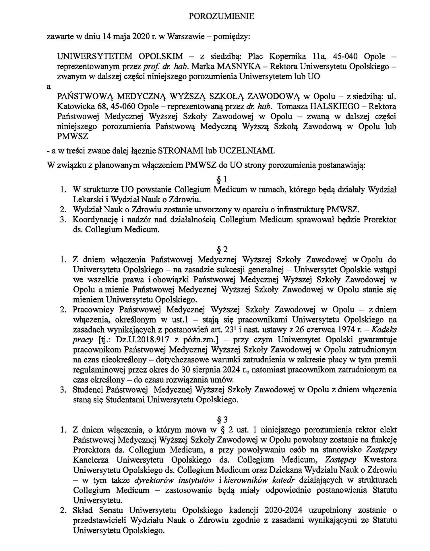 Porozumienie UO & PMWSZ w Opolu Cz. 1